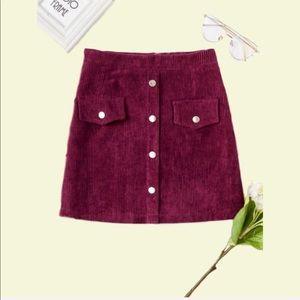 """Amelia"" Corduroy Buttoned Skirt w Back Zipper"